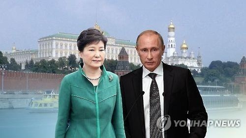 This graphic, provided by Yonhap News TV, shows President Park Geun-hye (L) and her Russian counterpart Vladimir Putin. (Yonhap)