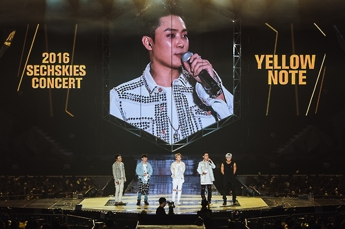 "South Korean boy band Sechs Kies performs in a comeback concert 'Yellow Note"" held in southeastern Seoul on Sept. 11, 2016. This photo was provided by the YG Entertainment."