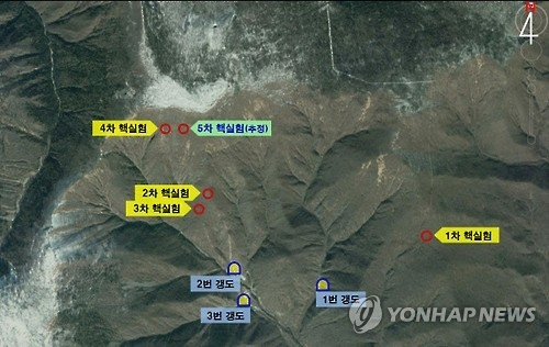 This Yonhap News file photo shows a map that marks the sites where the previous five nuclear tests were conducted in North Korea since 2006 and the No. 3 tunnel, the predicted location for another possible nuclear test within this year. (Yonhap)