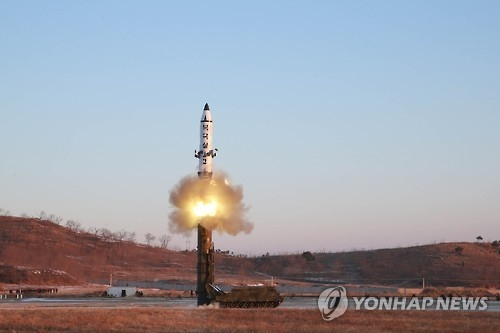 North Korea fires a medium-range ballistic missile in February in this file photo. (For Use Only in the Republic of Korea. No Redistribution) (KCNA-Yonhap)