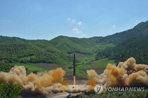 North Korea launches a Hwasong-14 intercontinental ballistic missile on July 4, 2017. (For Use Only in the Republic of Korea. No Redistribution) (KCNA-Yonhap)