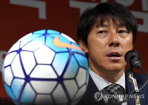 New South Korea national football team coach Shin Tae-yong speaks at a press conference at the Korea Football Association headquarters in Seoul on July 6, 2017. (Yonhap)