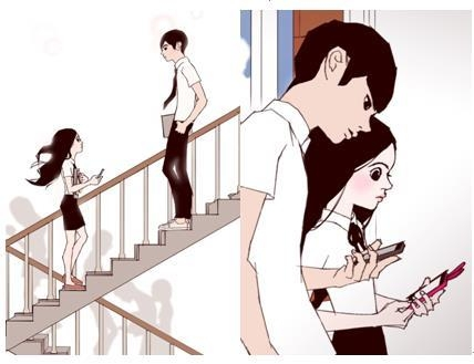 "The image provided by Netflix show cuts from webtoon ""Love Alarm"" by Chon Kye-young. (Yonhap)"
