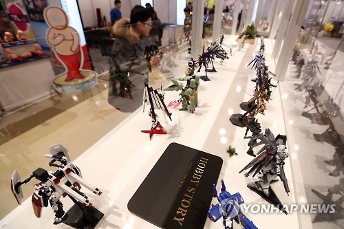 This photo, taken on Jan. 19, 2017, shows figurines on display at a kidult exhibition in southern Seoul. (Yonhap)