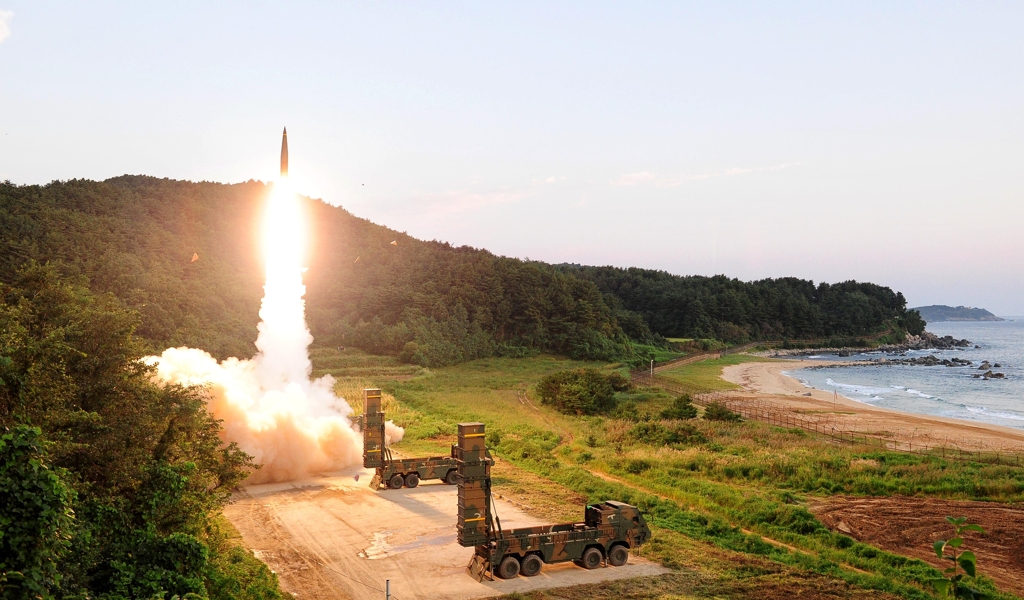 A Hyunmoo ballistic missile is fired during the South Korean military's live-fire exercise held at an eastern coastal area on Sept. 4, 2017, in response to North Korea's nuclear test in this photo provided by the Joint Chiefs of Staff. (Yonhap)
