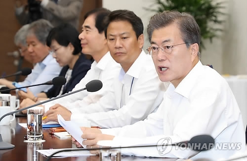 This photo, taken Oct. 10, 2017, shows President Moon Jae-in speaking during a meeting with his top secretaries at the presidential office Cheong Wa Dae in Seoul. (Yonhap)