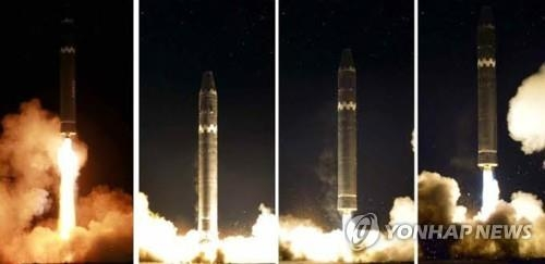 North Korea launches its new intercontinental ballistic missile on Nov. 29, 2017, in these photos released by its state media and shown to the outside world a day later. (For Use Only in the Republic of Korea. No Redistribution) (Yonhap)