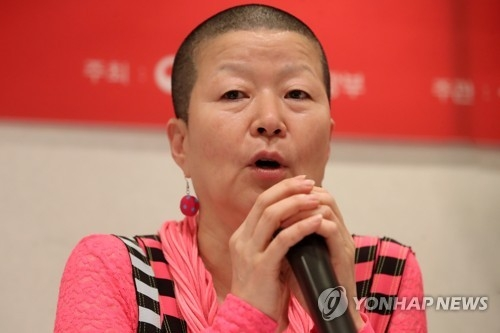 Dance icon Ahn Eun-me speaks about her new work about North Korean dance in a press conference on May 17, 2018. (Yonhap)