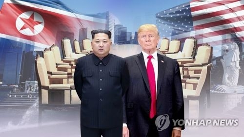 This image provided by Yonhap News TV shows U.S. President Donald Trump (R) and North Korean leader Kim Jong-un. (Yonhap)