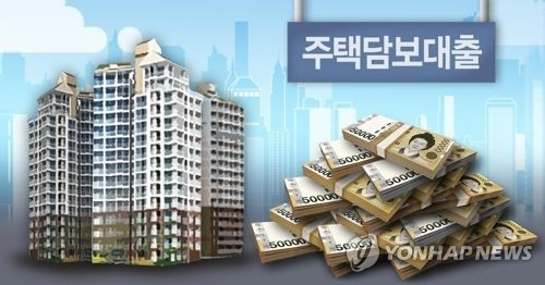 This image represents the rise of mortgage loans in S. Korea. (Yonhap)