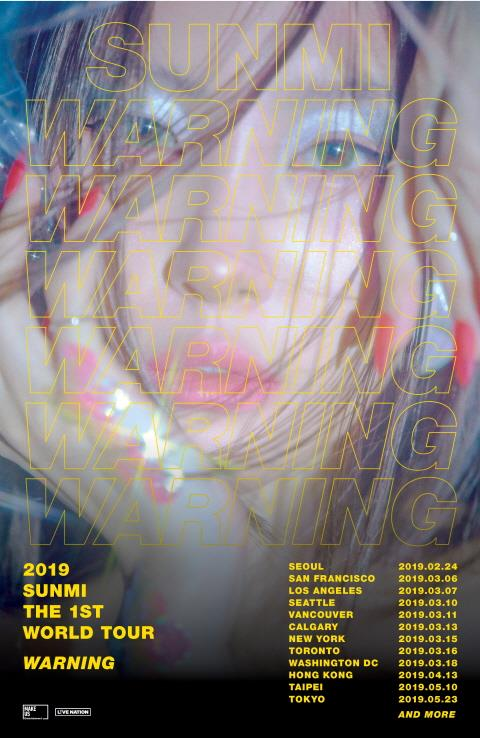 This promotional image with the timetable for Sunmi's first solo world tour was provided by Makeus Entertainment. (Yonhap)
