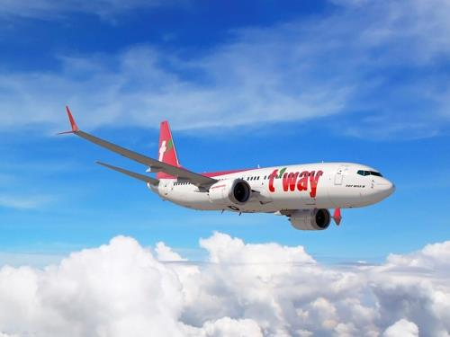 This image provided by T'way shows one of the company's B737 MAX passenger jets. (Yonhap)