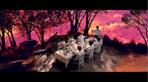 "This banquet image from BTS' 2016 music video ""Blood Sweat & Tears"" was captured from the video. (Yonhap)"