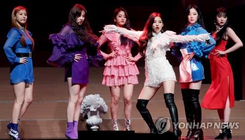 """Girl band (G)I-dle showcases their new song """"Senorita"""" at a media event on Feb. 26, 2019."""