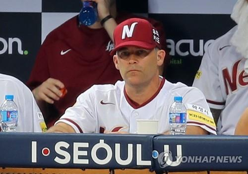 In this file photo taken Aug. 1, 2017, Brandon Knight, pitching coach for the then Nexen Heroes, watches a Korea Baseball Organization regular season game against the SK Wyverns at Gocheok Sky Dome in Seoul. (Yonhap)