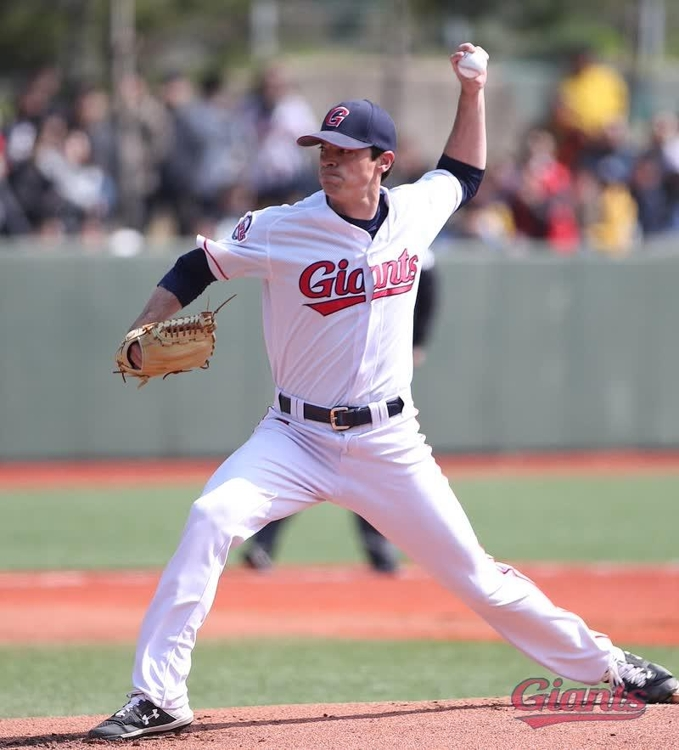 In this photo, provided by the Lotte Giants, Brooks Raley of the Giants throws a pitch during a Korea Baseball Organization preseason game against the NC Dinos on March 12, 2019, at Sangdong Baseball Field in Gimhae, 450 kilometers southeast of Seoul. (Yonhap)