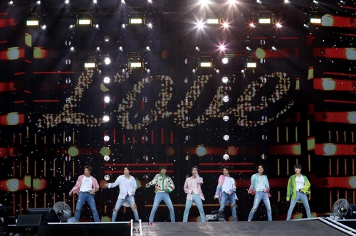 This photo, provided by Big Hit Entertainment, shows BTS performing at one of its concerts at Osaka's Yanmar Stadium Nagai on July 6 and 7, 2019. (PHOTO NOT FOR SALE) (Yonhap)