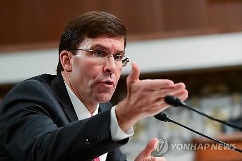 Mark Esper, nominee for the U.S. Secretary of Defense, speaks during his confirmation hearing on July 16, 2019. (Yonhap)