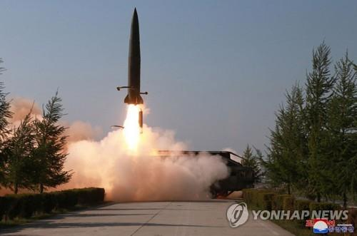 A suspected short-range missile is launched from Kusong, North Pyongan Province in the northwestern part of North Korea, on May 9, 2019, in this photo released by the Korean Central News Agency. (For Use Only in the Republic of Korea. No Redistribution) (Yonhap)