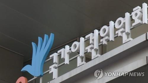This file photo shows the signboard of the National Human Rights Commission of Korea. (Yonhap)