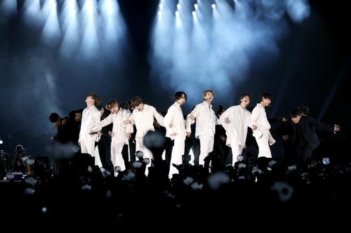 This image provided by Big Hit Entertainment shows BTS' concert in Riyadh's King Fahd International Stadium on Oct. 11, 2019. (PHOTO NOT FOR SALE) (Yonhap)