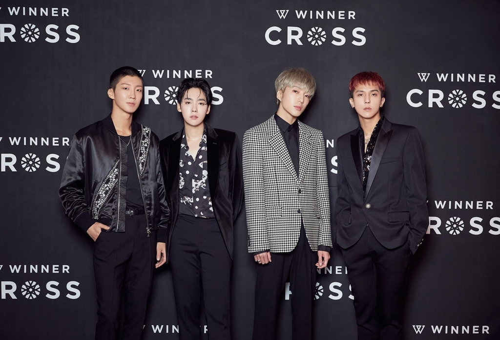 This photo of WINNER ahead of a press conference on Oct. 23, 2019, was provided by YG Entertainment. (PHOTO NOT FOR SALE) (Yonhap)
