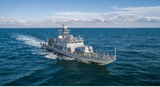 This photo provided by the Defense Acquisition Program Administration on Nov. 26, 2019, shows South Korea's 200-ton Gumdoksuri (Golden Eagle)-B class Patrol-boat Killer Medium Rocket 212 sailing in waters near the country' southern city of Busan before being delivered to the Navy. (PHOTO NOT FOR SALE) (Yonhap)
