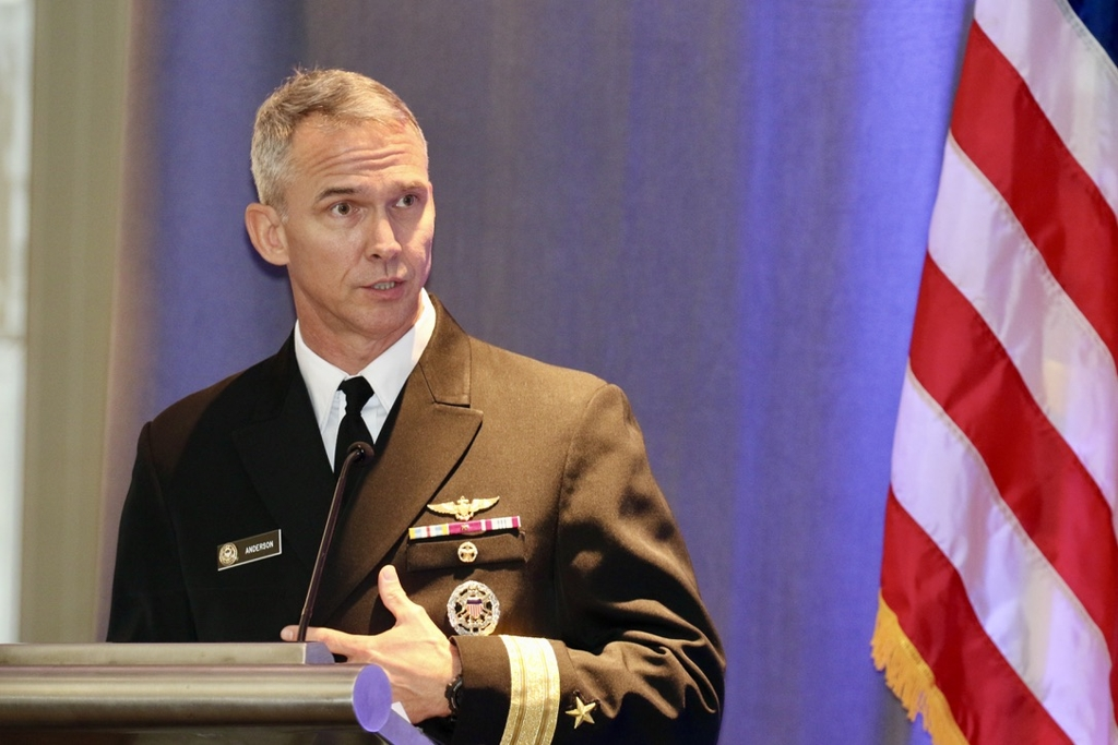 This photo shows Rear Adm. Jeffrey Anderson, deputy director for political-military affairs for Asia on the U.S. Joint Chiefs of Staff, speaking at a conference on the South Korea-U.S. alliance at the Mayflower Hotel in Washington on Dec. 4, 2019. (Yonhap)