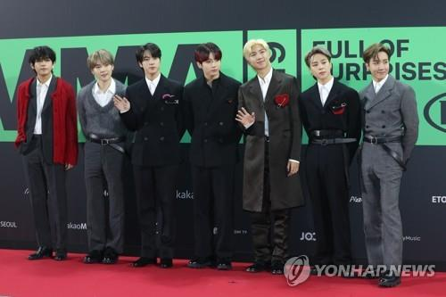 This image shows BTS during the Melon Music Awards in Seoul on Nov. 30, 2019. (Yonhap)