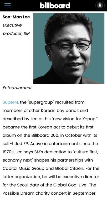 SM Entertainment chief producer makes Billboard's '2020 Impact List'