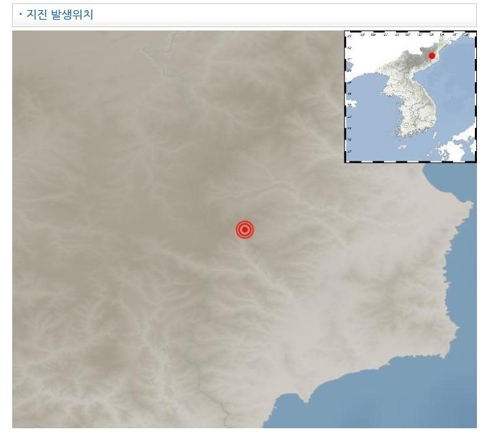 This map provided by the Korea Meteorological Administration on Jan. 29, 2020, shows the epicenter of a 2.5 magnitude earthquake in North Korea the same day. (Yonhap)