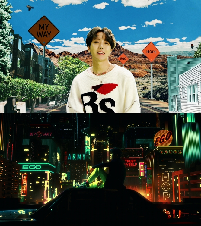 "These images, provided by Big Hit Entertainment, are from the video of BTS band member J-Hope's ""Outro: Ego."" (PHOTO NOT FOR SALE) (Yonhap)"