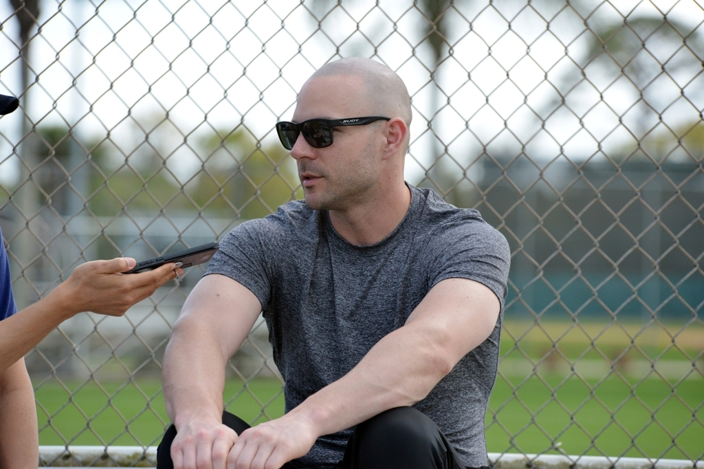 Jamie Romak of the SK Wyverns speaks with Yonhap News Agency in an interview at Jackie Robinson Training Complex in Vero Beach, Florida, on Feb. 10, 2020. (Yonhap)