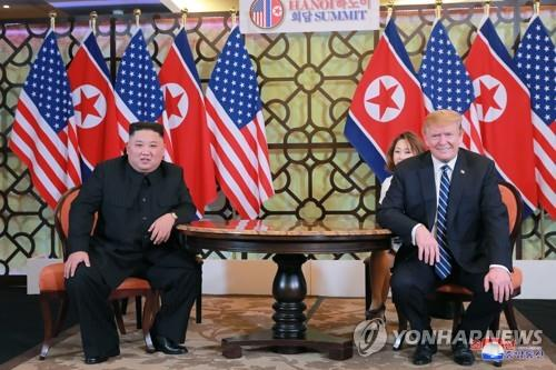 This photo published by North Korea's Korean Central News Agency shows North Korean leader Kim Jong-un (L) and U.S. President Donald Trump in Hanoi, Vietnam, on Feb. 28, 2019. (Yonhap) (For Use Only in the Republic of Korea. No Redistribution.)