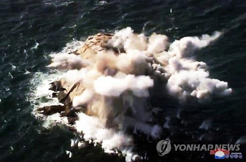 A projectile strikes the target during a long-range artillery drill by the North Korean army's long-range artillery sub-units on March 2, 2020, in this photo released by the North's official Korean Central News Agency the next day. North Korean leader Kim Jong-un inspected the drill. The report came one day after South Korea said the North fired what appeared to be two ballistic missiles. (For Use Only in the Republic of Korea. No Redistribution) (Yonhap)