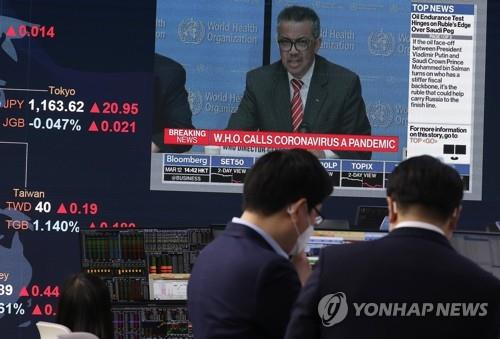 This photo, taken on March 12, 2020, shows a dealing room of KB Kookmin Bank in Seoul. (Yonhap)