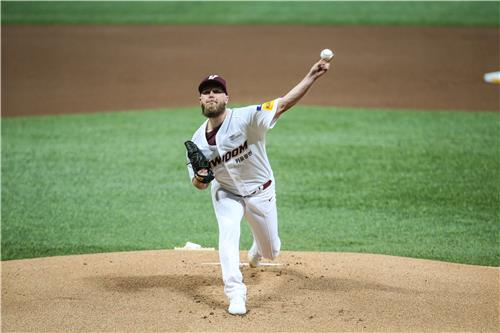 Eric Jokisch of the Kiwoom Heroes pitches against the Samsung Lions in a Korea Baseball Organization regular season game at Gocheok Sky Dome in Seoul on May 12, 2020, in this photo provided by the Heroes. (PHOTO NOT FOR SALE) (Yonhap)