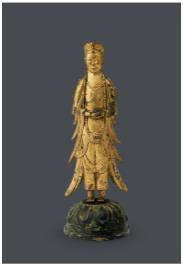 This photo provided by K Auction shows Gilt-bronze Standing Bodhisattva. (PHOTO NOT FOR SALE) (Yonhap)