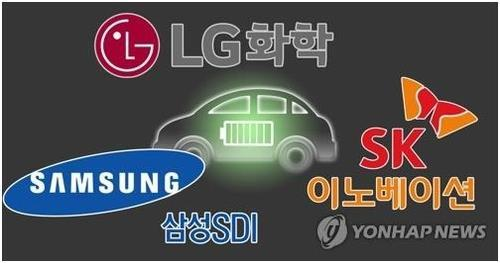 This composite image shows logos of South Korean electric vehicle battery makers. (Yonhap)