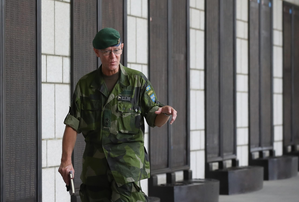 Maj. Gen. Hibbe Corneliusson, the Swedish member of the Neutral Nations Supervisory Commission, speaks during an interview with Yonhap News Agency at the War Memorial of Korea in Seoul on June 12, 2020. (Yonhap)