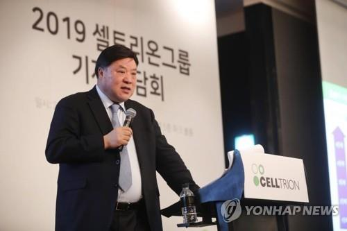 This photo, provided by Celltrion Group on July 9, 2020, shows its chief Seo Jung-jin attending a press conference. (PHOTO NOT FOR SALE) (Yonhap)