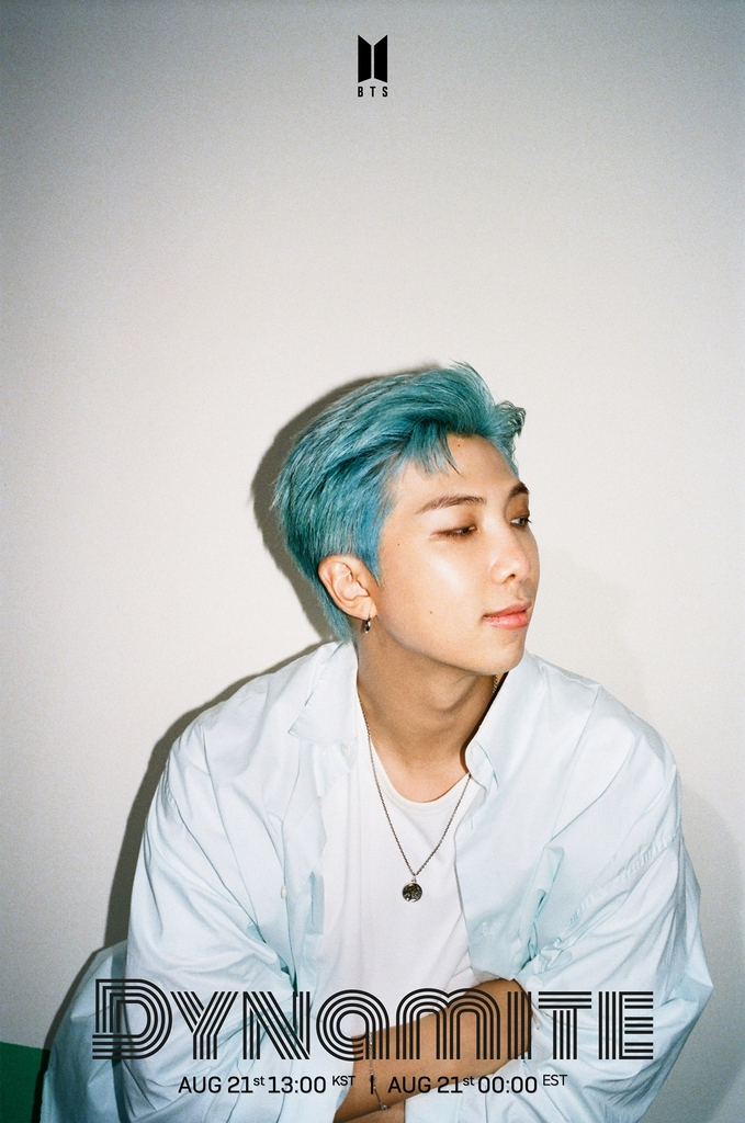 "A teaser image for K-pop group BTS' upcoming single album ""Dynamite,"" featuring group leader RM. Photo provided by Big Hit Entertainment on Aug. 11, 2020. (PHOTO NOT FOR SALE) (Yonhap)"