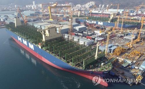 This photo provided by Daewoo Shipbuilding & Marine Engineering Co. shows a container carrier being built by the shipbuilder at its shipyard on Geoje Island. (PHOTO NOT FOR SALE) (Yonhap)