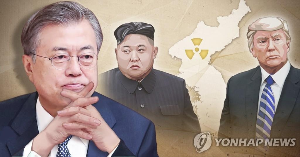 A combined image of South Korean President Moon Jae-in (L), North Korean leader Kim Jong-un (C) and U.S. President Donald Trump (Yonhap)