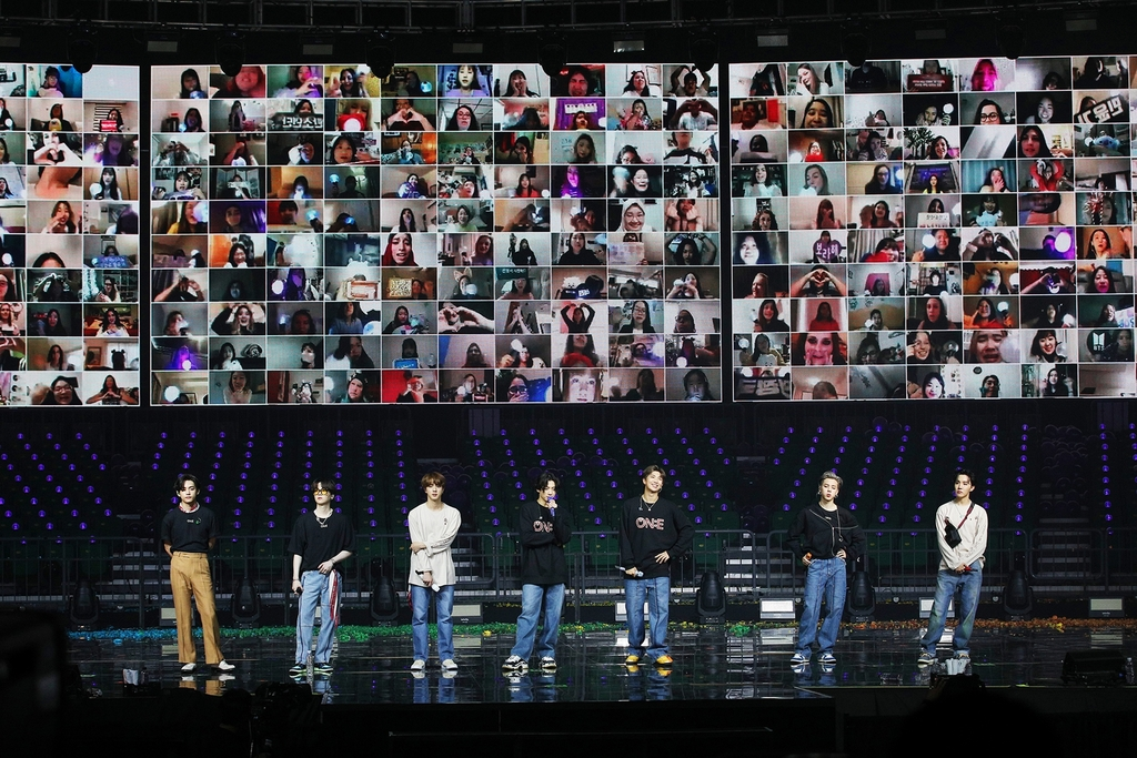 This photo, provided by Big Hit Entertainment, shows BTS during its online concert on Oct. 10, 2020. (PHOTO NOT FOR SALE) (Yonhap)