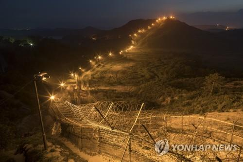This photo, taken on July 24, 2018, shows a night view of the Demilitarized Zone (DMZ) on the border with North Korea in Cheorwon, Gangwon Province. (Yonhap)