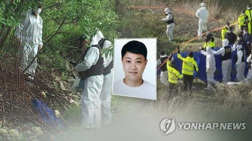 This composite photo, provided by Yonhap News TV, shows an image of Choi Shin-jong against the backdrop of police forces searching crime scenes. (PHOTO NOT FOR SALE) (Yonhap)