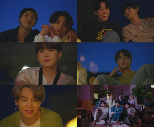 "This image, provided by Big Hit Entertainment on Nov. 18, 2020, shows clips from a teaser video for the upcoming BTS song ""Life Goes On."" (PHOTO NOT FOR SALE) (Yonhap)"