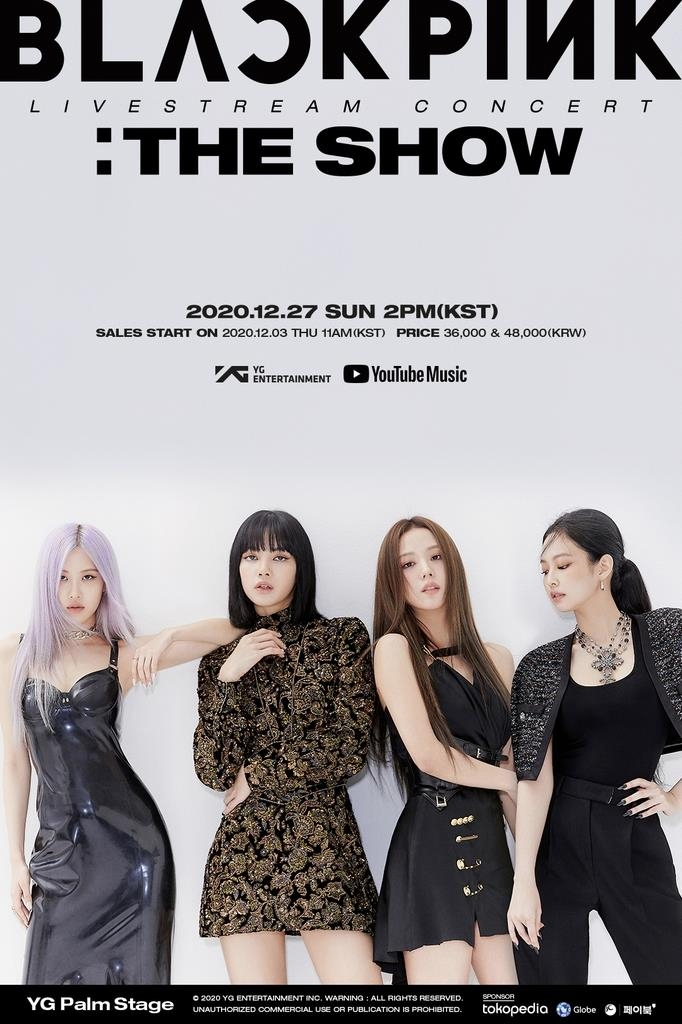 This image, provided by YG Entertainment on Dec. 3, 2020, shows a poster for BLACKPINK's upcoming livestream concert. (PHOTO NOT FOR SALE) (Yonhap)