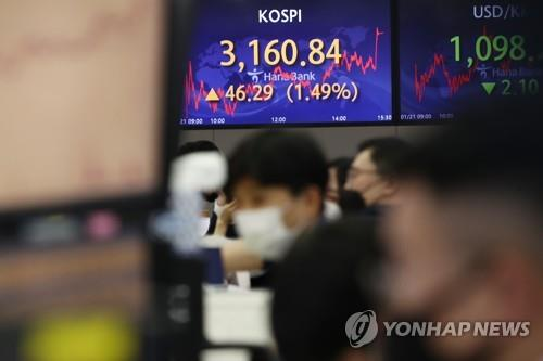 Electronic signboards at a Hana Bank dealing room in Seoul show the benchmark Korea Composite Stock Price Index (KOSPI) closed at 3,160.84 on Jan. 21, 2021, up 46.29 points or 1.49 percent from the previous session's close. (Yonhap)